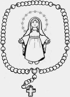 virgen del santo rosario para colorear - Buscar con Google