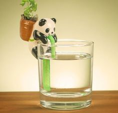 Cute Self-Watering Animal Planters: Capillary action, first documented by Leonardo Da Vinci but only recently made cute, draws waterup a piece of rope hidden in the animal-held-straw into the soil held in each critter's pack.When the soil is completely wet, it ceases to soak up water from the string until it dries out. | Bored Panda