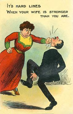 commercial comic postcards used by anti-suffragists to mock feminists and scaremonger of the dangers of letting women think for themselves.
