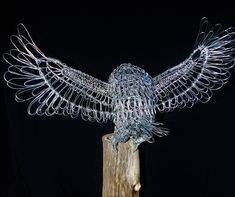 Coming in to land -Wire Sculpture by Gill Holland Wire Art