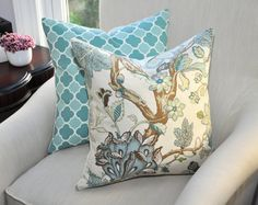 kravet contemporary jacobean floral pillow cover