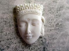 Buddha Head Carved Bone Cabochon 28mm $7.50 USD from Indounik on Etsy
