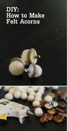Easy Felt Ball Craft Decor | DIY Felt Acorns by DIY Ready at http://diyready.com/diy-projects-with-felt-balls/ 