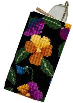 Pansy Garden Black Glasses/Spectacle Case tapestry kit