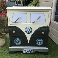 Buy & sell, Vintage Retro style pine chest of drawers. Hand painted, sealed and varnished. Made to look like a vintage retro VW Campervan. Each drawer