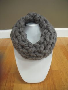Chunky Cowl - Arm Knit - Grey Scarf Gray Scarf - Neck warmer by pokayoka on Etsy