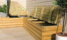 Praktisk putekasse på en helg - Byggmakker Diy Home Interior, Corner Bench, Outdoor Furniture, Outdoor Decor, Outdoor Gardens, Pergola, Home And Garden, Backyard, Storage