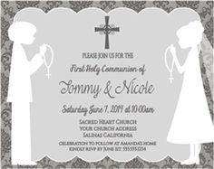 697e3bf78554ea092853275edb8e0a88 twin girls boys and girls first communion invitation shadow kneeling damask twins (boys,First Communion Invitations For Boy Girl Twins