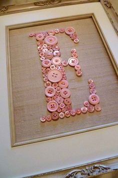 Framed Button Letter #diy #home #decor #wall art #craft