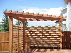 Corner pergola with shade feature. Next project along with a pea gravel patio ar. Corner pergola w Cedar Pergola, Deck With Pergola, Wooden Pergola, Outdoor Pergola, Backyard Pergola, Pergola Shade, Pergola Plans, Backyard Landscaping, Backyard Ideas