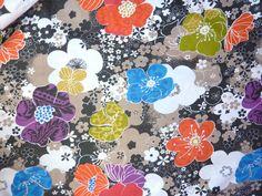 VINTAGE RETRO 100% COTTON 1960's 70's BIG ORANGE BLUE FLOWERS PRINT BLACK FABRIC