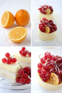 small cakes with layers of coconut dacquoise, meyer lemon chiboust, wrapped in a thin white chocolate strip and topped w/ red currants