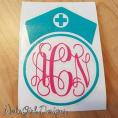 Nurse Decal Monogram RN Christmas Gift Laptop Nursing Student Vinyl Custom Colors