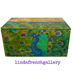 Large Peacock Trunk FURNITURE ART Hand Painted Funky Whimsical Furniture Coffee Table Storage Hope Chest Peacock Painting by lindafrenchgallery on Etsy https://www.etsy.com/listing/223393078/large-peacock-trunk-furniture-art-hand