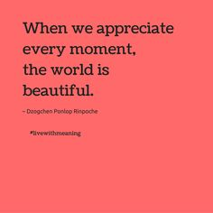 When we appreciate every moment, the world is beautiful.