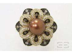 Chocolate Tahitian & Diamond Ring