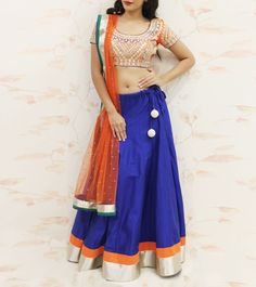 #Blue #Embroidered #Cotton #Lehenga #Set by #Keya #Designs at #Indianroots
