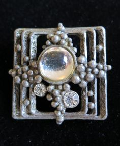 Unusual vintage 80's bubbles square brooch crystals and silver glass cabochon stone pewter tone (5157)