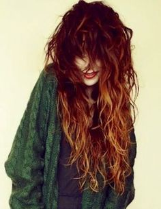 20 Long Curly Hair Color Ideas: #8. Red Ombre; #longhair; #redhair; #ombre