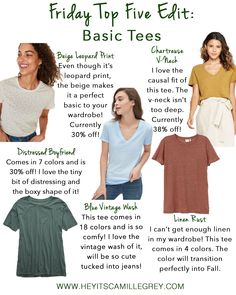 Friday Top Five Edit: Basic Tees | Hey Its Camille Grey #basictees #basics #tees #tshirts #fashion #howtostyle