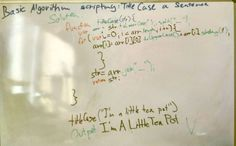 Solving the Basic Algorithm Challenges on FreeCodeCamp.com . Title Case a Sentence. Perfecting my code sketching on the whiteboard. #javascript #web_development #algorithms #code #freecodecamp #function #programming #beautiful_code #js #passion  @freecodecamp @codingblog @code.world @thecrazyprogramer @worldofprogrammers @c.programming @computer__revolution @buildtheweb @madewithcode @codeworksbcn @somos_programadores @coding.bugs @programmerrepublic @addictedprogrammers  @geeky_programmers…