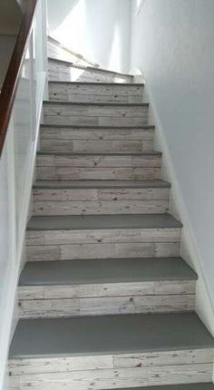Explore The Best 24 Painted Stairs Ideas for Your New Home never easy to try and come up with cool ways to optimize your stairs and make them cooler. Here are best painted stairs ideas for you new home Painted Stairs, Wooden Stairs, Painted Floors, Wood Paneling, Paneling Ideas, Painted Wood, Redo Stairs, Garage Stairs, Gray Basement