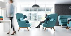 October Reception Furniture - high back wing chair version with wooden legs Workspace Design, Office Interior Design, Reception Furniture, Contemporary Armchair, Reception Seating, Lobby Reception, Soft Flooring, Soft Seating, Traditional Interior