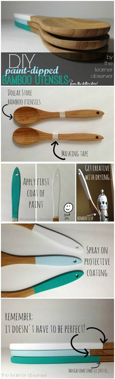 DIY PAINT DIPPED BAMBOO UTENSILS BY THE LEARNER OBSERVER