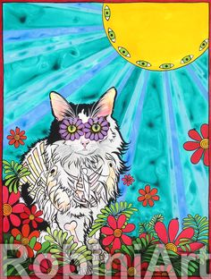 RobiniArt custom pet portrait of a cat named Swimfetch. Inquire about a custom pet portrait at www.robiniart.com. #cats #cat #catart