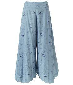 SUPERSWEET x moumi Pimm Pants   #archive #flare #CatPrint #billowing #CrazyCatLady #denim #CatLovers #collectible #CatLover #edge #biro #chambrey #frilly #design #blue