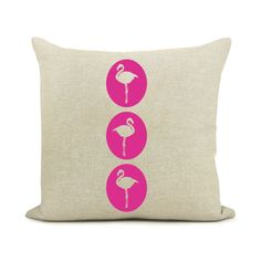 Flamingo pillow cover,pink design print / decorative pillowcase / cushion cover 16x16