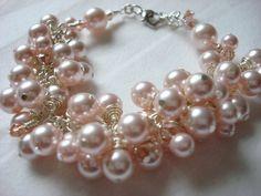 Swavorski Pink Pearl and Crystal Cluster Bracelet by NickyeCole, $32.00