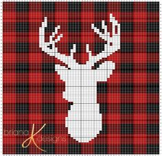 Farmhouse Plaid Deer Knit Pillow Cover Knitting pattern by Briana K - Knitting Charts C2c Crochet, Tapestry Crochet, Crochet Afghans, Graph Crochet, Deer Pillow, Knit Pillow, Cross Stitch Patterns, Knitting Patterns, Crochet Patterns