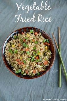 Vegetable Fried Rice (A Indo-Chinese Style) - Quick and easy to make rice loaded with vegetables and simple flavors. Healthy and delicious, also it is Vegan. Alterations: Use cauli rice instead of normal rice. Veggie Recipes, Indian Food Recipes, Asian Recipes, Whole Food Recipes, Vegetarian Recipes, Cooking Recipes, Healthy Recipes, Indian Snacks, Yummy Recipes