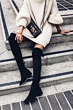 Sweater dress + OTK boot.