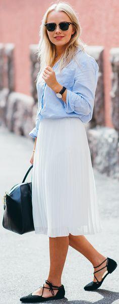 #fall #street #style   Blue Shirt + White Skirt + Pop Of Black