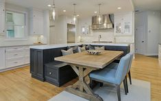 Kitchen Island With Bench Seating, Kitchen Island And Table Combo, Kitchen Island Decor, Kitchen Island With Seating, Narrow Kitchen With Island, Small Island, Kitchen Cabinets, Kitchen Island Extension Ideas, Islands With Seating