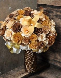 a color scheme idea gold to copper brown wedding | Gold Copper Brown and Ivory Wooden Bouquet |