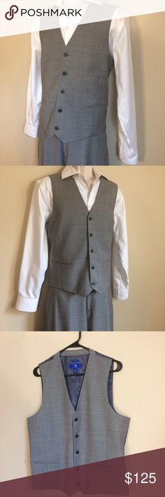 Egara Light Gray Tuxedo Suit Preowned but in excellent condition, only worn once, Egara 100% Wool light gray vest and pants Tuxedo suit set with a white Pronto Uomo dress shirt. The vest is a slim fit large. The pants are a slim fit size 34 waist, but measure 36 inch at the waist with a 10 inch rise and a 31 inch inseam. The shirt is a 15.5 32/33. Egara Suits & Blazers Tuxedos