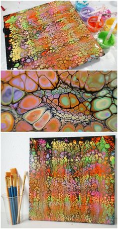 Video. Black acrylic swipe painting. Some of these cells look like snake skin! How to create cells with an acrylic swipe painting video.