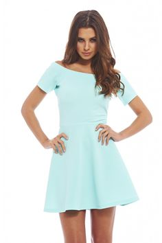 hearts are wild skater dress in aqua