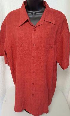 Haggar Men's 55% Linen Redish Orange Striped Design Button Down Shirt Size XL #Haggar #ButtonFront