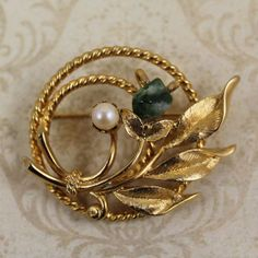 Vintage Sarah Coventry Green Stone Pearl Golden от scdvintage, $12.00