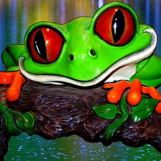 Rain Forest Frog painted digitally over rain on a pond in Southern Michigan. Photography, Photoshop, and pen tool painting all employed to create this bright image. 6th Grade Art, Fine Art America, Frogs, Rain, Photoshop, Wall Art, Canvas, Artist, Painting