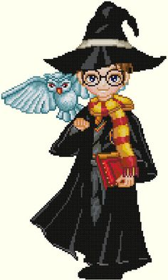 Harry and Hedwig Cross Stitch Pattern-Harry Potter, owl, wizard, fantasy by KeenahsCrossStitch on Etsy