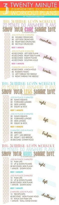 Summer Love 20 minute at home workout plans #fitness #workout #health