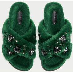 FAUX FUR BEJEWELLED SLIDES - View all-SHOES-WOMAN | ZARA United States ($56) ❤ liked on Polyvore featuring shoes and faux fur shoes