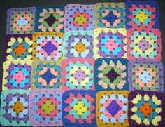 20 Crochet Granny Square Blocks for Afghan - Multicolored - 5 X 5 inches by Isabellarts on Etsy