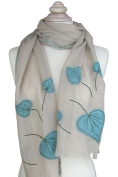 Stone with Teal - New! Wool and applique scarf