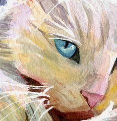Persian Cat Art Print of my Watercolor Painting by rachelsstudio